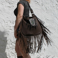Brown fringed leather tote hobo eagle bag chocolate brown aztec navajo navaho southwestern western native indians agate slice boho festival
