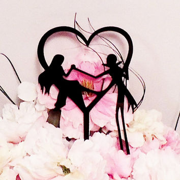 Jack and Sally Heart Wedding Cake Topper