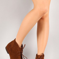 Breckelle Sandy-61W Lace Up Round Toe Ankle Bootie