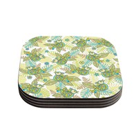 "Julia Grifol ""Summer Birds"" Green Lime Coasters (Set of 4)"