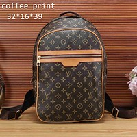 LV Louis Vuitton 2018 men and women classic checkerboard backpack F-KSPJ-BBDL coffee print
