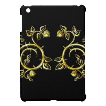 golden ornament,on black backround iPad mini cover