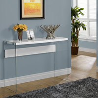 Console Table - Glossy White With Tempered Glass