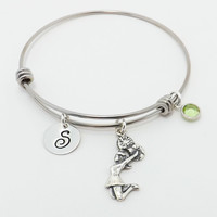 Cheer Adjustable Initial Charm Bangle with Sterling Silver Female Cheerleader Charm and Swarovski Crystal Birthstone