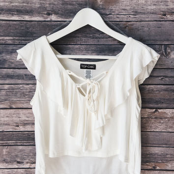 Lace Up Ruffle Crop Top (Cream)