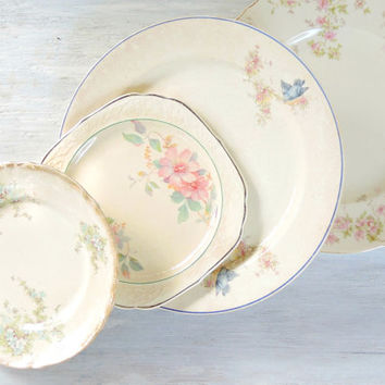 Antique Shabby Cottage Style Mismatched Dinner Dessert Plates Set of 4 Romantic French China Vintage Wedding Shabby Chic Tea Party