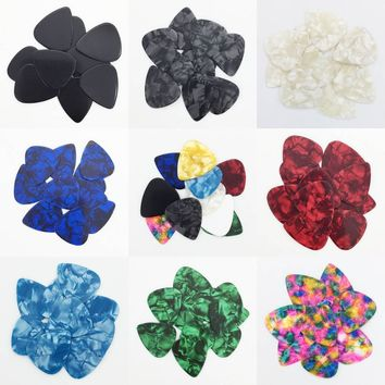 10 pieces 0.46 mm Celluloid Guitar Pick Mediator for Acoustic Electric - 10 Colors Custom