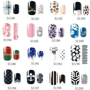 14 Tips NAIL Art Full Self Adhesive Stickers Polish Foils Transfer Tips Wrap Flowers Bowknots Leopard Decals Manicure Tool