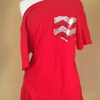 NEW HOT!! Chevron Red Sequin Pocket Off-the-Shoulder T-Shirt Womens