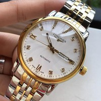 KDCCK L036 Longines Waterproof Automatic Mechanical Men Steel Band Watches Sliver Gold