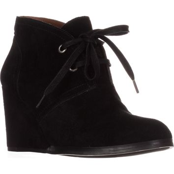 Lucky Brand Seleste Lace Up Wedge Booties, Black, 10 US / 40 EU