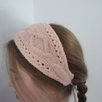 Headband Bandana Accessory, Hand Knit, Decorative Pale Pink with Cables Gypsy Headwrap