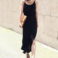 Black Spaghetti Strap High Split Chiffon maxi Dress