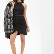 FOREVER 21 Faux Leather Trimmed Dress Black