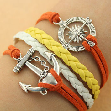 anchor bracelet-- compass pendant,Guide the direction of life,antique silver charm bracelet,white&yellow braid leather bracelet,MORE COLORS