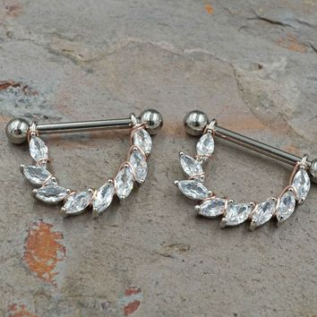 Marquise CZ Silver Star Nipple Shield Barbell Jewelry Barbell