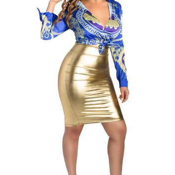 Montay Gold Faux Leather Metallic High Waisted Pencil Skirt