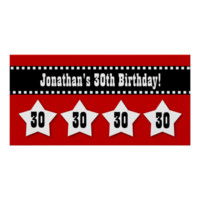 30th Birthday Red Black Hearts Banner Custom V11 Poster