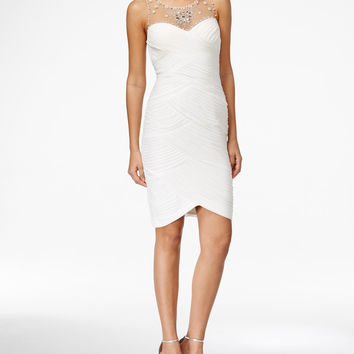 Adrianna Papell Dress, Sleeveless Jeweled Beaded Pleated Tulip Hem Cocktail Dress