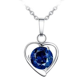 Blue Crystal Police Heart Necklace