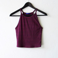 Striped Crop Tank Top - Burgundy