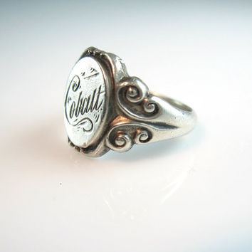 Victorian Ring Antique Sterling Silver Signet Ring Engraved Name 'Cobalt' 1800s Unisex Jewelry Size 7.75