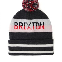 Brixton Fairmont Pom Beanie - Mens Hats - Charcoal/White/Red - One