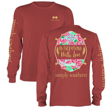 Simply Southern Preppy Do Everything With Love Flowers Long Sleeve T-Shirt