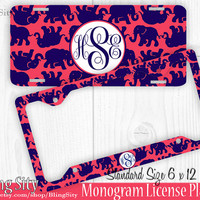 Navy Red Elephants Monogram License Plate Frame Holder Metal Car Truck Tags Personalized Custom Vanity Lilly Inspired