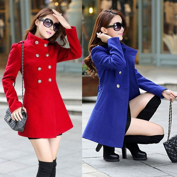 New Winter Autumn Women Coat Slim Coat Double-Breasted Jacket Collar Woolen Outwear Trench Coat = 1956966980