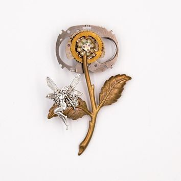 Fairy and Flower Steampunk Brooch Pin (Brass, Steampunk Jewelry)