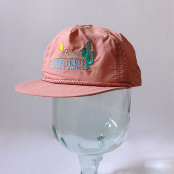 CAT Caterpillar Hat - Tinaja Hills Training Center - Cactus Desert Logo - Strapback Adult Adjustable - Farm Farmer Farming - Tonkin - RARE