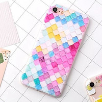Bainbow Grid Case Cover for iPhone 7 7 Plus & iPhone 5s se 6 6s Plus + Gift Box50
