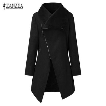 ZANZEA Fashion Women Solid Lapel Neck Long Sleeve Zipper Moto Biker Coat Casual Irregualr Hem Long Outwear Wool Blend Jacket New