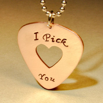 Copper I pick you guitar pick necklace handmade with heart window