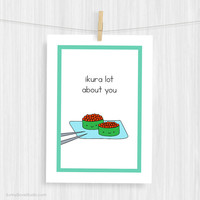 Funny Art Print Cute Sushi Pun Illustration Wall Decor Fun Food Love Handmade Christmas Gifts Gift Ideas For Girlfriend Boyfriend Her Him