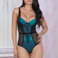 iCollection Lingerie Stretch Satin Lace Teddy