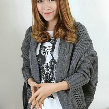 Dark Grey Plain Cable Print Dolman Sleeve Cardigan Sweater