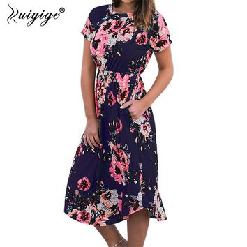 Ruiyige Women Floral Print Boho Long Dresses Sexy Summer Maxi Beach Tunic Dress Holiday Short Sleeve Pocket O-neck Vestidos