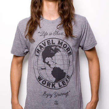 Travel More T-shirt Athletic Gray