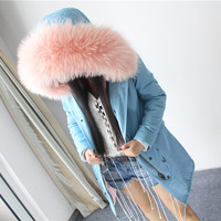 OFTBUY top quality brand 2017 new winter jacket coat women natural real large raccoon fur hooded parka women thick warm parkas