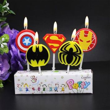 5pcs/lot Avengers Party Supplies Birthday Party Cake Avengers Candles Favors Kids Birthday Candles Evening Party Decorations Set