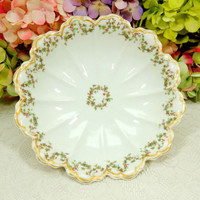 Beautiful Antique Limoges Porcelain Footed Bowl ~ Holly Berry ~ Double Gold