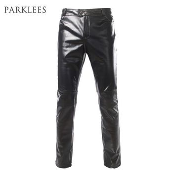 Shiny Black Metallic Pants Men 2017 Brand Side Zipper Design Moto Jeans Casual Slim Fit PU Leather Pants Skinny Trousers Gold