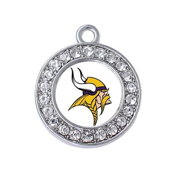 New design transparent enamel minnesota vikings team logo pattern metal pendant FIT DIY football jewelry necklace bracelet
