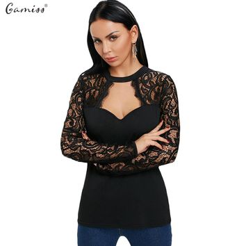 Gamiss Women T-Shirts Casual Keyhole Neck Long Sleeve Lace Panel Cut Out T-Shirt Women Tops Ladies Spring Autumn Tees Shirts