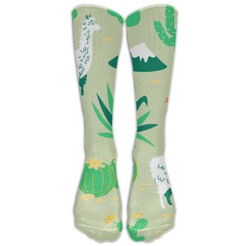 Desert Llama V3 Novelty Cotton Knee High All-Over Printed Socks