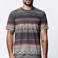 On The Byas Rugged Henley T-Shirt - Mens Tee - Brown