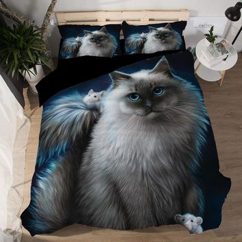 3D Animal Black Cat Bedding Set Twin Queen King Size Polyester Bedroom Set Bed Sheets Duvet Cover sets pillowcase bedclothes