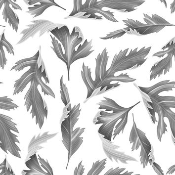 Falling Fern Black and White Removable Wallpaper